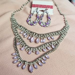 Three layer necklace & earrings